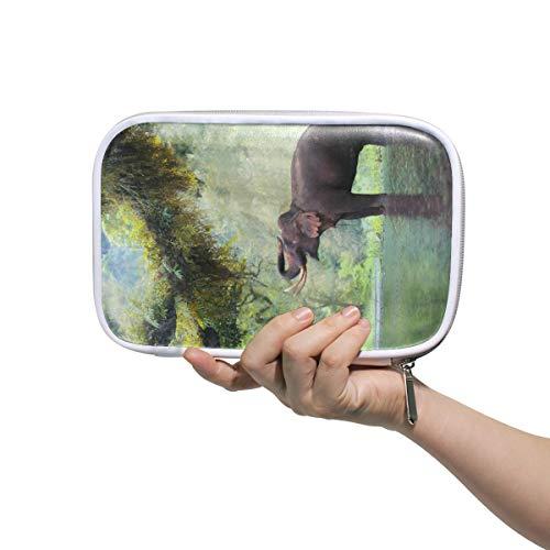 Federmäppchen Leder Kosmetiktasche Steam Forest Elephant Organizer Große Kapazität für die Reiseschule