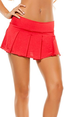 Solid Pleated Mini Skirt - White (Red, Small/Medium)