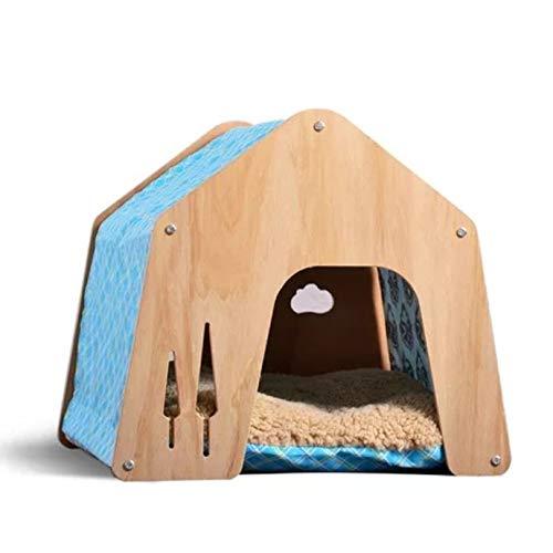 thematys® Hundehütte Indoor | Schlafplatz für Haustiere | Robustes Hundehaus mit Stoffdach + extra Kissen (L (55 x 60 cm), Style 3)