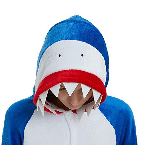 YULOONG pijama para adultos con diseño de animales, para Halloween, Navidad, cosplay, disfraz, para mujeres y hombres Gris tiburón X-Large