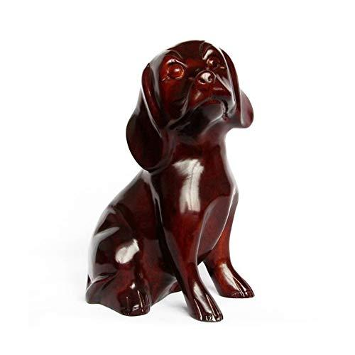 ZFF Perro de talla de madera manualidades, decoración casera, regalo de cumpleaños, 15 × 10,5 × 20 cm (Color : B)