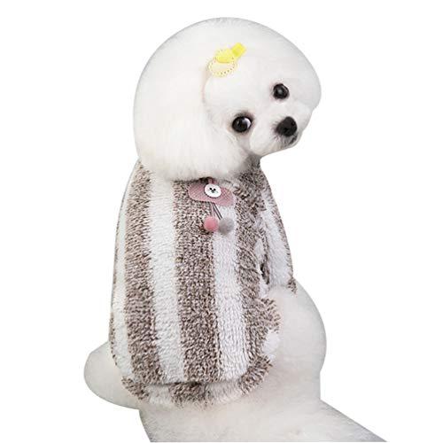 YiiJee Plüsch Hundemantel Herbst und Winter Mantel Winddicht Warme Hundebekleidung Warm Haustierkleidung Hund Kleidung Hundekleidung Hundekostüm für Kleine Mittlere Hunde Braun M