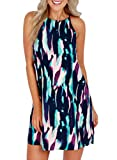 MITILLY Women's Halter Neck Boho Floral Print Loose Casual Sleeveless Short Dress X-Large Multicolor