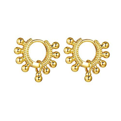 FEARRIN Pendientes Trendy Chic Gold Circle Pendientes para Mujeres niñas Vintage Small Metal Bead Aro Pendiente Mujer Fiesta Joyería Declaración 52432