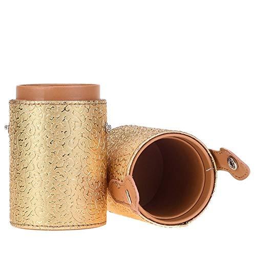 ZRDY 11 Couleurs Vide Portable Voyage Maquillage Pinceaux Rond Porte-Stylo Cosmétique Cas en Cuir PU Coupe Brosse Titulaire Tube De Stockage (Color : Golden)