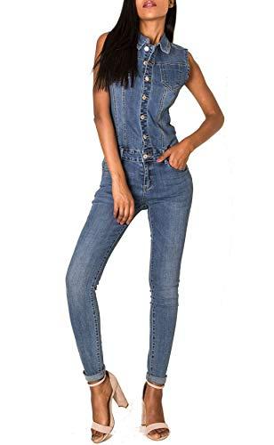 EGOMAXX Damen Jeans Overall Jumpsuit Ärmellos Hosenanzug Einteiler, Farben:Blau, Größe:40 / L
