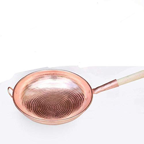 Wok in rame, wok in rame fatto a mano, wok ispessito, casseruola in rame con manico lungo per uso domestico (manico in legno) 34 cm