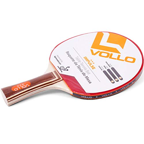 Vollo Sports Raquete Tenis Mesa Impulse Aprovada ITTF, Madeira