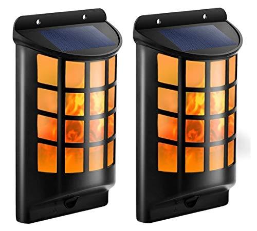 Ltteny Solar Wandleuchten Im Freien, Wasserdicht Flackernde Solarleuchten photoSensor Auto EIN/Aus 66 LED Solar Wand Nachtlichter (2pcs)