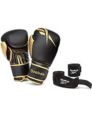12oz Boxing Gloves + Wraps Set - Gold/Black