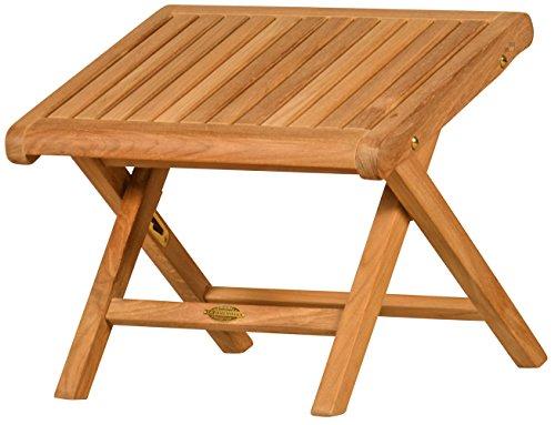 Kai Wiechmann Premium Fuß-Hocker Brighton Teak-Holz Garten verstellbar, auch als Beistelltisch