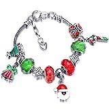Hicarer Natale Braccialetto Perline Ciondolo Charm Bracciale con Regalo Scatola Saluto Biglietto Regalo per Donna Signora (Babbo Natale)