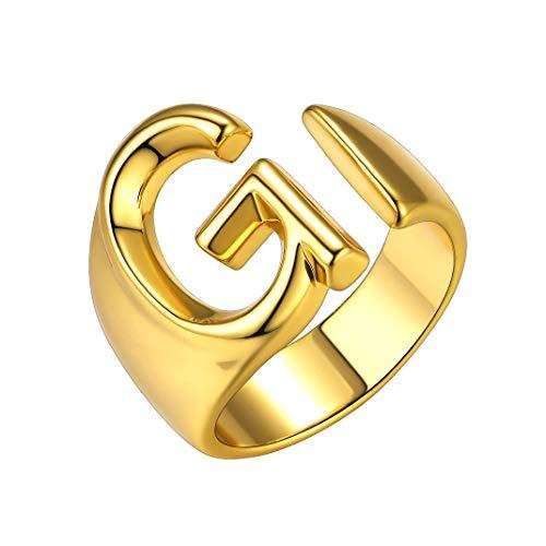 GoldChic Jewelry Anello aperto iniziale G, anello trumb regolabile per lettera captial in oro per donna