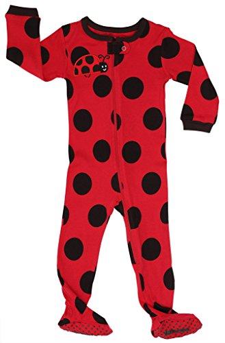 elowel | Pijamas De Niñas | Bebé, Pequeño, Chicas, Ropa De Dormir | 1 Pieza | Algodon | Tamaño: 2 Años (92) | Colro: Rojo | Diseño: Lunares