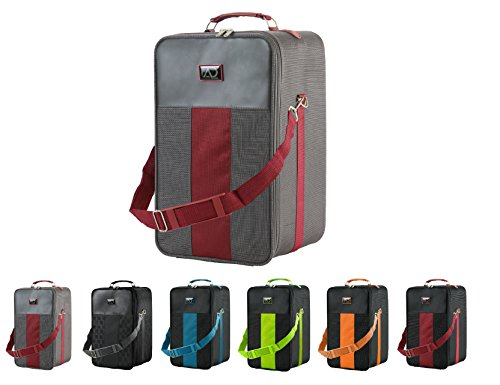 Large Wig Travel Box with Top Handle, Shoulder Strap & Double Zipper, Carrying Case with Removable Head-Holding Base - Gray & Maroon - by Adolfo Design