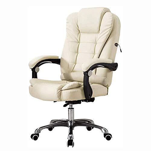 CHAIR Massage Bürostuhl - Hochlehner Pu Computer Schreibtisch Bürostuhl Drehbarer Ergonomischer Executive Ledersessel Mit Fußstütze Und Verstellbaren Armlehnen, Weiß