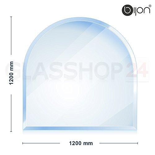 bijon® - 8mm XXL Kamin Glasbodenplatte - Rundbogen 1200x1200x8mm -18mm Facette