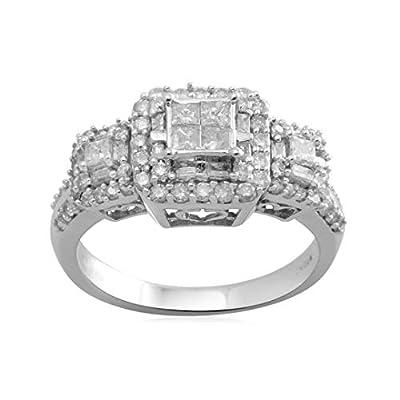 10k White Gold Diamond Engagement Ring (1 cttw, I-J Color, I2-I3 Clarity)