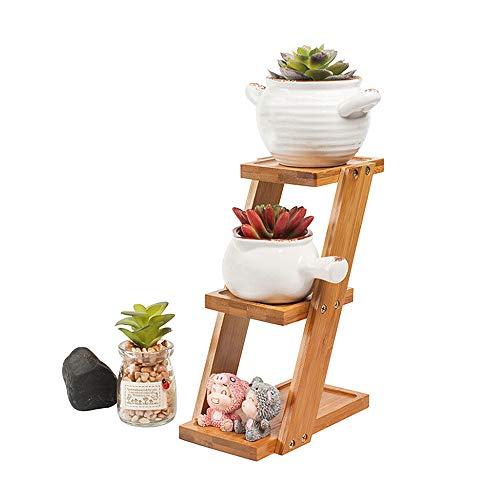 JYCRA Mini soporte de madera para plantas, 3 niveles, estante para macetas, estante de almacenamiento para interiores y exteriores