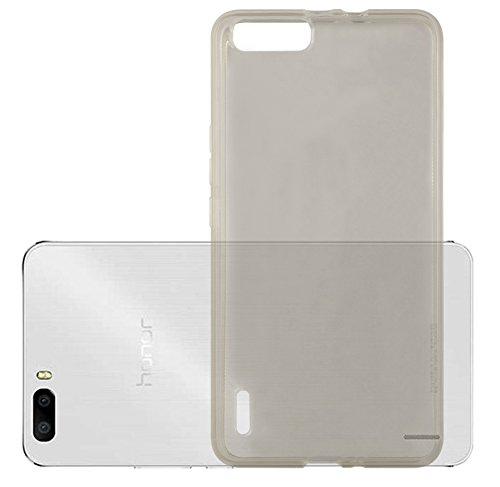 Cadorabo Hülle für Honor 6 Plus - Hülle in TRANSPARENT SCHWARZ – Handyhülle aus TPU Silikon im Ultra Slim 'AIR' Design - Silikonhülle Schutzhülle Soft Back Cover Case Bumper