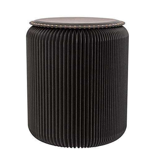 BYPING Taburete De Papel Plegable,Cojín De PU con Remaches Material De Papel Kraft Diseño De Acordeón Plegable Se Puede Usar En La Sala De Estar. Balcón (Color : Black, Size : 36x42cm)