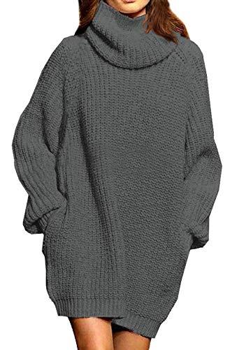 Viottiset Damen Lustig Rollkragen Einfarbig Strickkleider Casual Sweater Grau M
