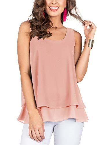 Floral Find Women's Chiffon Layered Tank Tops Summer Sleeveless Round Neck Blouses Shirts Orange-Pink
