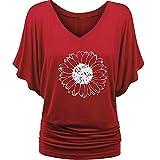 Womens 3/4 Roll Sleeve Shirt Notch V Neck Loose Pattern Tunic Top Sweaty Rocks Store Women Striped Tunic Camo Tunic Black Shirt Juniors Good Vibes T Shirts(3-Red,L)