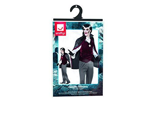 SMIFFYS Costume Vampiro, Nero, pantaloni, camicia finta con gilet, mantella con medaglia