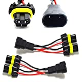 iJDMTOY Pair 9005/9006 2-Way Splitter Wires Compatible With Headlight/High Beam Quad/Dual Projectors or Headlight/Fog Light Co-Operate Retrofit