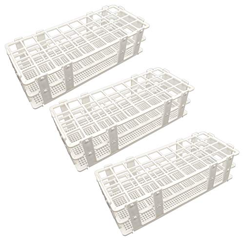 Pocomoco 3 Packs Plastic Test Tube Rack, 40 Holes Lab Test Tube Rack Holder for 20mm Test Tubes, White, Detachable (40 Holes)