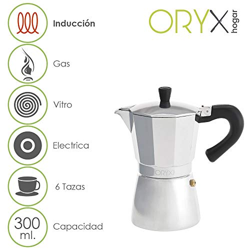 Oryx 5056022 Cafetera Inducción Aluminio 6 Tazas (300 Ml