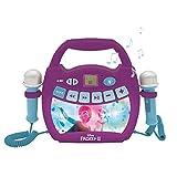 LEXIBOOK- Disney Frozen 2 - Reproductor de música de Karaoke portátil para niños - Micrófonos, Efectos de luz, Bluetooth, Grabación y Cambio de Voz, Baterías Recargables, Púrpura, MP320FZZ