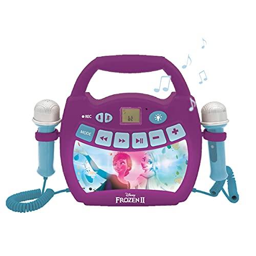Lexibook- Disney Frozen 2-Lettore Musicale Karaoke Portatile per Bambini-Microfoni, Effetti di Luce, Bluetooth, Registrazione vocale e funzioni di Modifica, batterie Ricaricabili, Viola