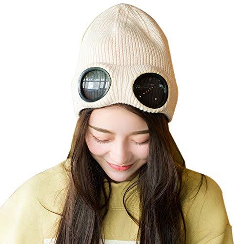 Timagebreze Doble - Uso Sombrero De Invierno Engrosado Gorro De Esquí De Calaveras Gorros Cálidos con Gafas Desmontables para Mujer Beige