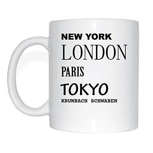JOllify KRUMBACH SCHWABEN Kaffeetasse Tasse Becher Mug M2121 - Farbe: weiss - Design 2: New York, London, Paris, Tokyo