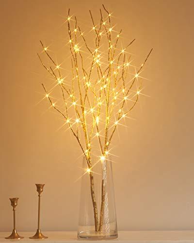Hairui ブランチツリー LED ライト 枝 イルミネーション ツリー インテリア 電池式 間接照明 クリスマス 高さ80cm 100電球 オシャレ 北欧 タイマー機能 防水 金色(花瓶が含まない)