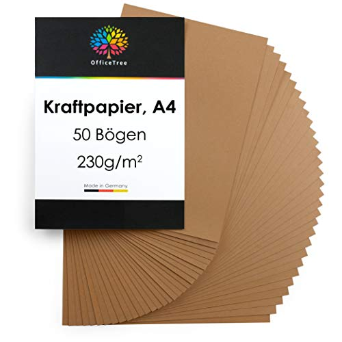 OfficeTree Kraftpapier A4 Kartonpapier 50 Blatt - Braunes Papier 230 g Qualität - Kartenpapier hochwertig zum Basteln, Schreiben, Drucken
