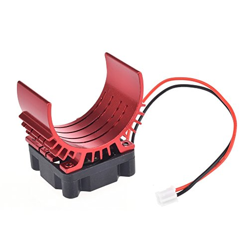 Aluminum Motor Heatsink with 5v Cooling Fan for 1/10 RC Car 540 3650 Size Motor(Red)