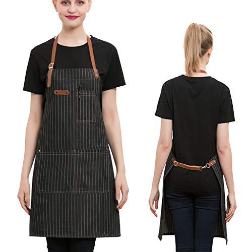 Werkschort met zakken voor Giardiniere Barista Mixologo Fiorista Chef Cameriera Cameriere, jeans schort voor dames (zwart) Zwart