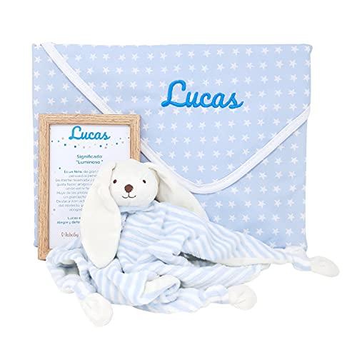 Mi Paz Mabybox – Canastilla para bebé personalizada con doudou conejito y arrullo de estrellas con el nombre del bebé – Set de regalos personalizado con el nombre del bebé. (Azul)