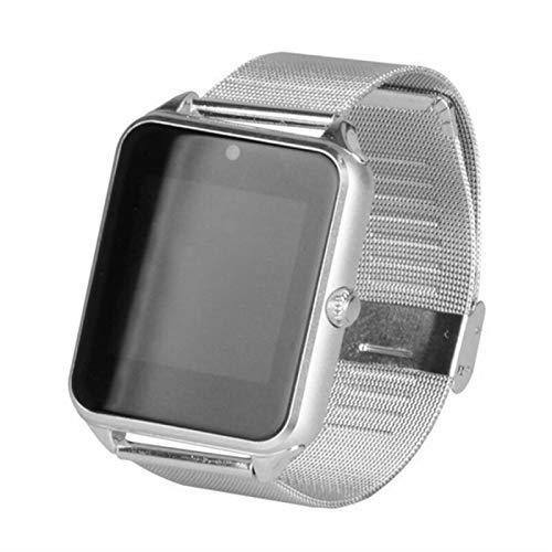 YONGLI Smart Watch Metal Clock with Card Slot Mensaje De Empuje Conectividad Bluetooth Android iOS Teléfono SmartWatch Pulseras (Color : Silver)
