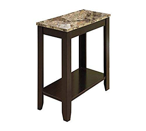 Monarch specialties, Accent Side Table, Marble-Look Top, Cappuccino, 24'L