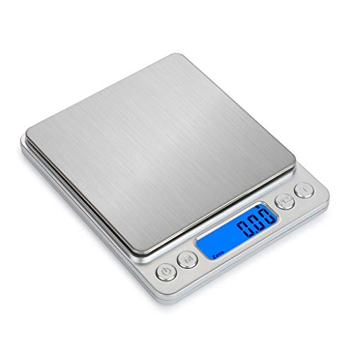 LYC roestvrije stalen digitale keuken sieraden weegschaal, (500g * 0,001oz / 0,01g) groot platform digitale tas weegschaal met 2 tabletten tegenlicht LCD-scherm (zilver) d