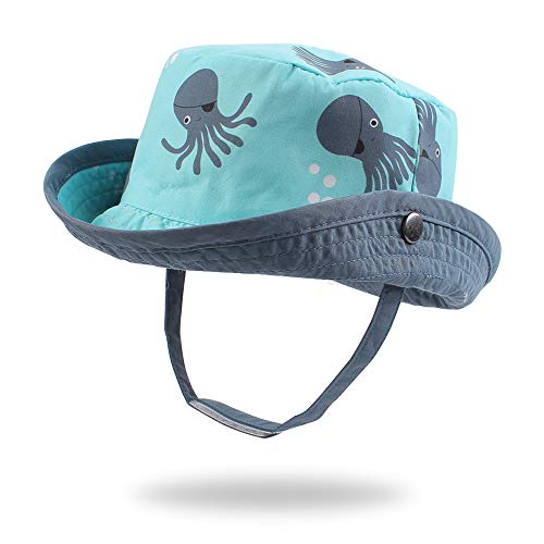 Pesaat - Bebé Niño Sombrero para el Sol Protector Solar Protección UV Tapa de la Cuenca Sombrero de Pescador Tiburón Impresión Verano Secado rápido Gorra de Visera(Pulpo,1-2 años)