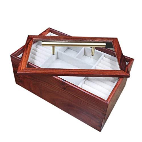 GWFVA Wood Jewelry Storage Box, Double Layer Redwood High Capacity Jewellery Organizer Box, Wedding Birthday Gift 25.5 16 10.5CM