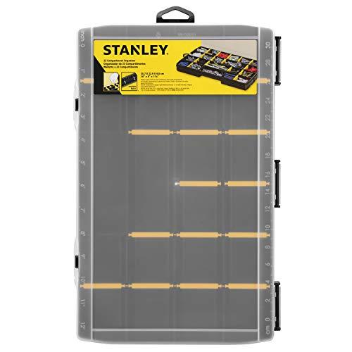 Stanley STST81681-1 OPP Organizer (Aufbewahrungsbox für Zubehör und Kleinteile aus schlagfestem Polypropylen, 22 Fächer mit entfernbaren Trennwänden, eingebautes Lineal)