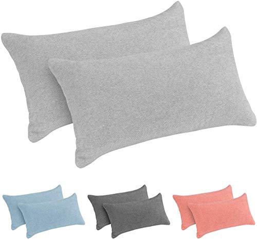 Monsera - Juego de 2 almohadas cervicales de viaje, suaves y estables, funda jaspeada con relleno suave, cojín de espalda, almohada para cama, sofá o viajes (2 x 40 x 20 cm, gris)