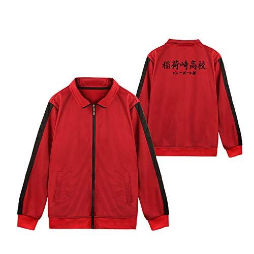 JINGHE Anime Haikyuu Fukurodani Cosplay Nekoma Jacke für Erwachsene Jugendliche, High School Volleyball Club Uniform Windbreaker Premium Mantel (S-3XL)