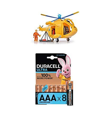 Simba – Feuerwehrmann Sam Hubschrauber Wallaby II, mit Tom Thomas Figur, mit Licht und Originalsound, 6 Sitzplätze, 34cm + Duracell Ultra Power Alkaline AAA Batterien, 8er Pack